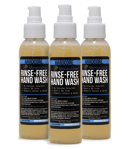 Rinse-Free Hand Wash 4 oz - 3 Pack rinse, free, hand, wash, soap, cleaner, hygiene, sanitizer, sanitize, clean, detergent, natural, water, based, no-rinse